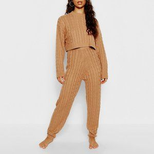 Cable Knit Loungewear Sweater and Sweatpants Set